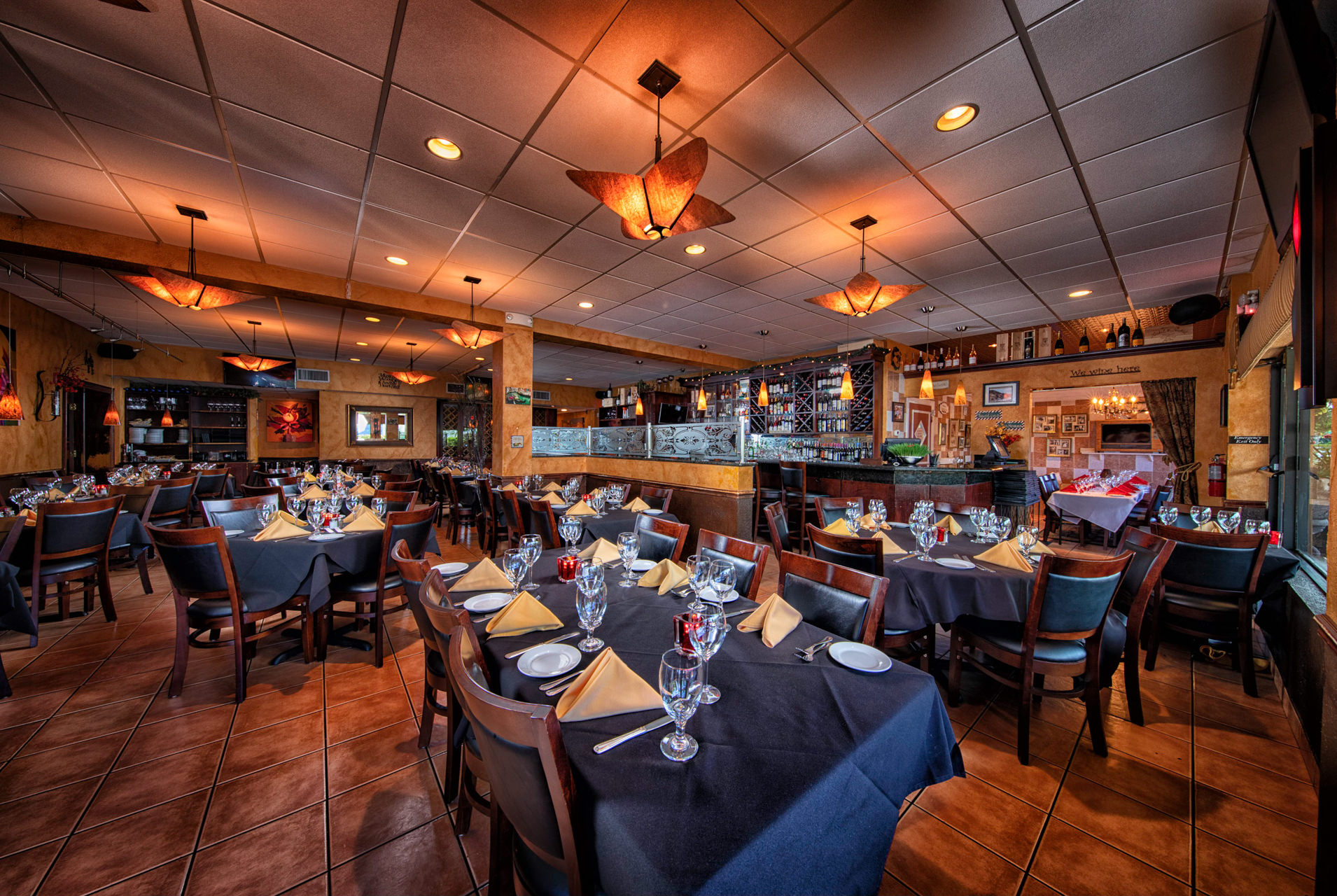 MAIN DINING ROOM - CAN BE USED FOR NON-PRIVATE PARTIES OF ALL SIZES, OR CAN BE RENTED FOR A FULLY PRIVATE PARTY OF UP TO 80.