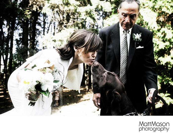 Bride with her Black Lab Dog