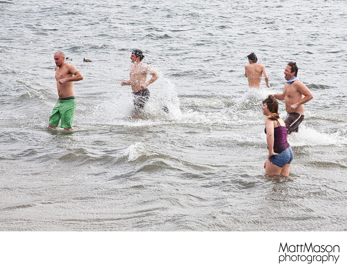 Running out of the water after the Polar Plunge
