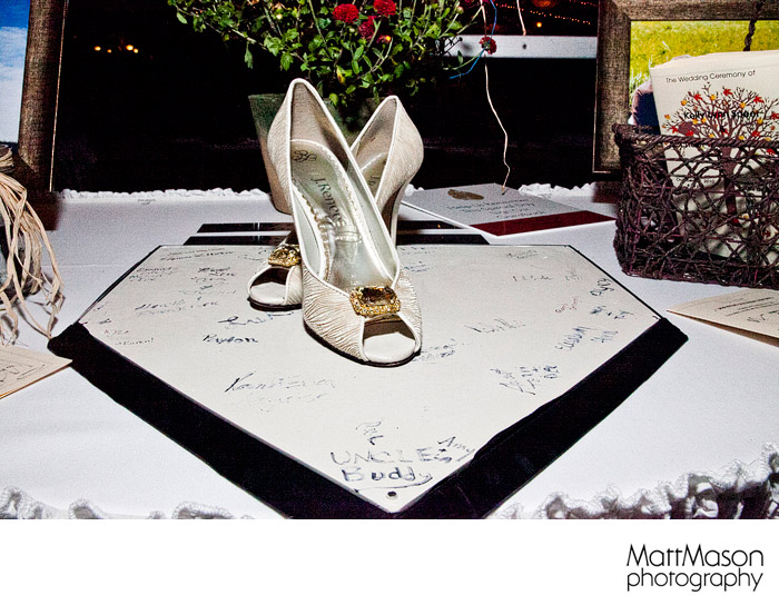Wedding shoes on home plate