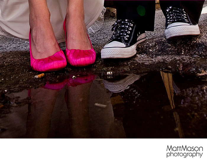 Wedding Shoes and Puddle
