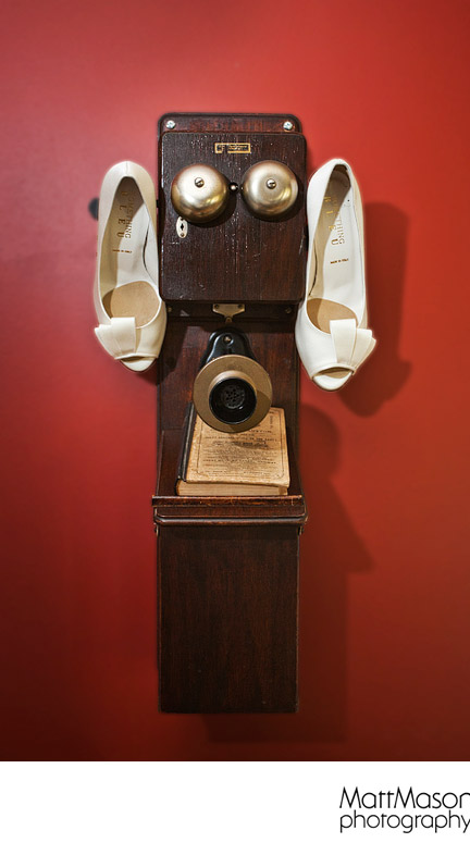 Old Fashioned Telephone and Wedding Shoes