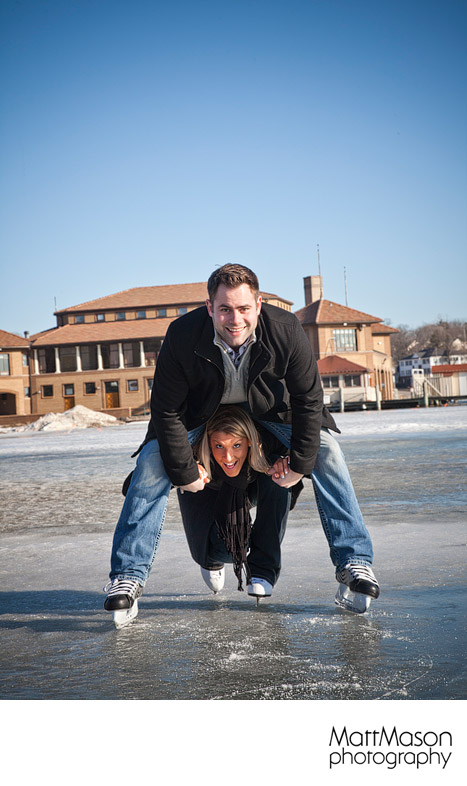 Ice Skating Trick Engagement Session