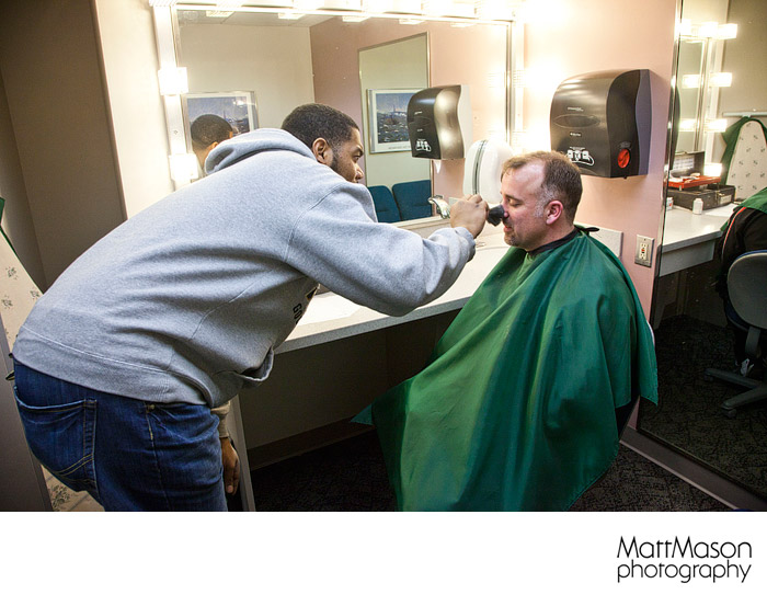 Brant Spiewak getting made up for the show