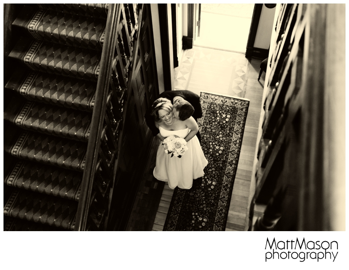 Baker House Staircase and couple