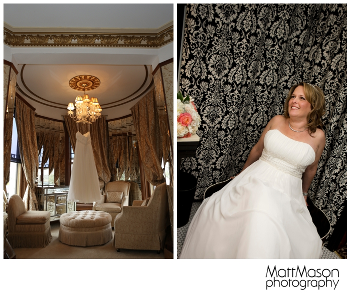 Bride and dress in Baker House