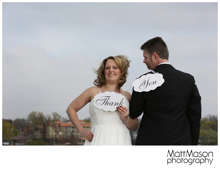 Bride and Groom with Thank You Sign