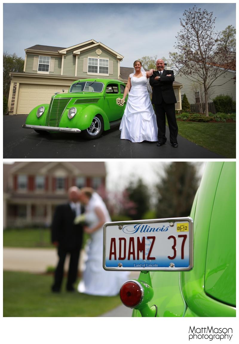 Bride with Dad's Hotrod