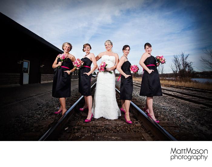 Bridesmaids on the railroad tracks