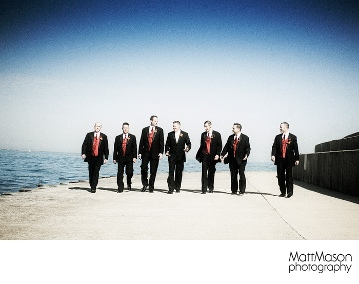 Chicago Lake Michigan groomsmen