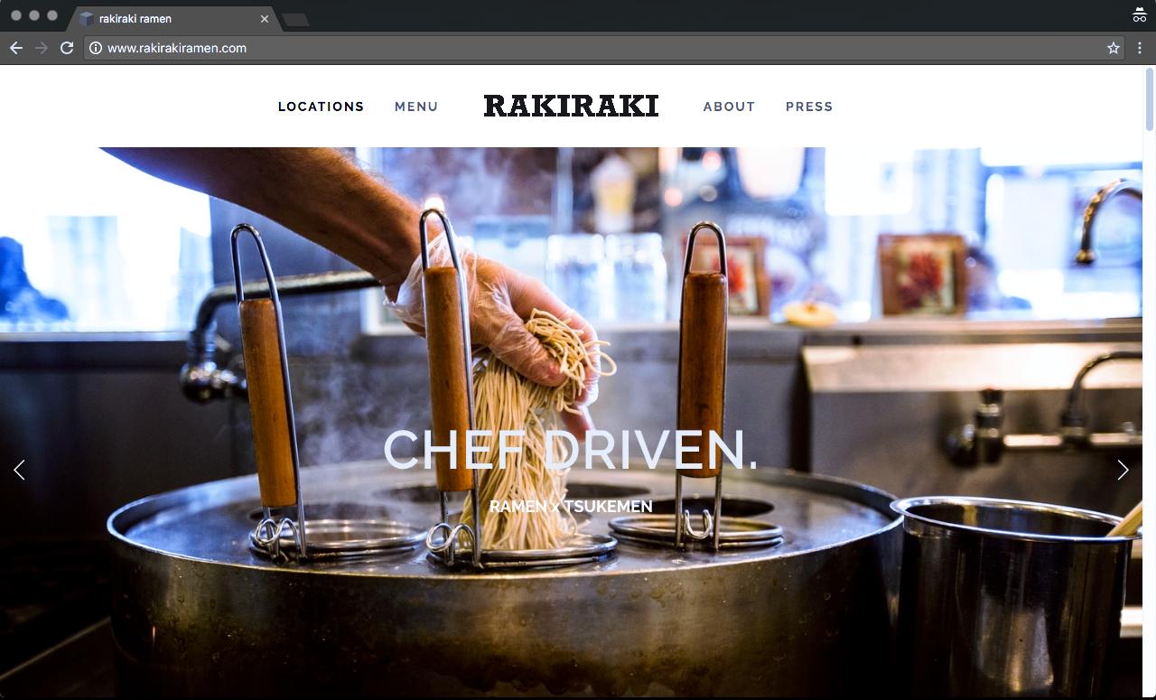 Rakiraki Ramen Home page scrolling banner.