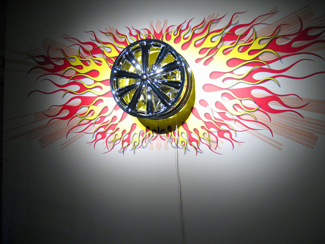 Heart Like a Wheel   Chrome wheel, motor, steel, LED light, electronics, inkjet print Miller gallery, Carnegie Mellon Univ. Pittsburgh March 24-Apr 24, 2006