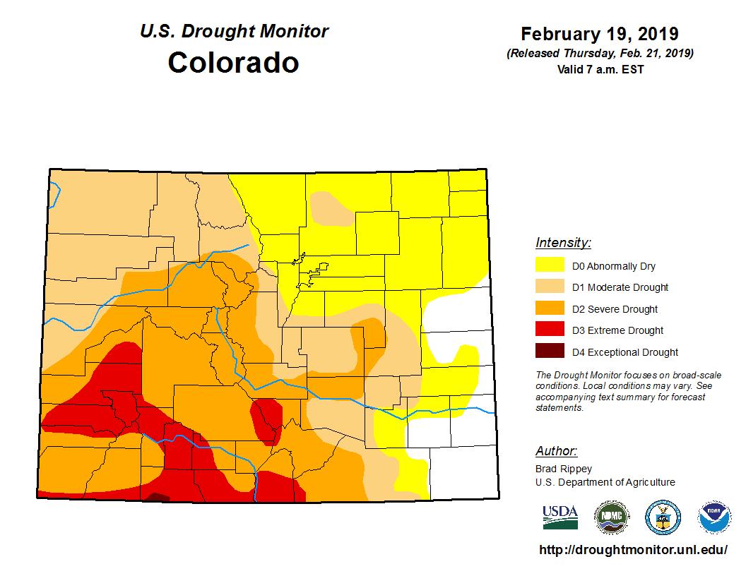 Colorado Drought Monitor Feb 2019