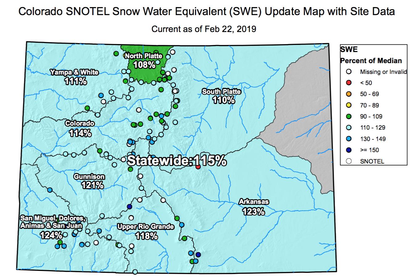 Colorado Snow Monitor Feb 2019