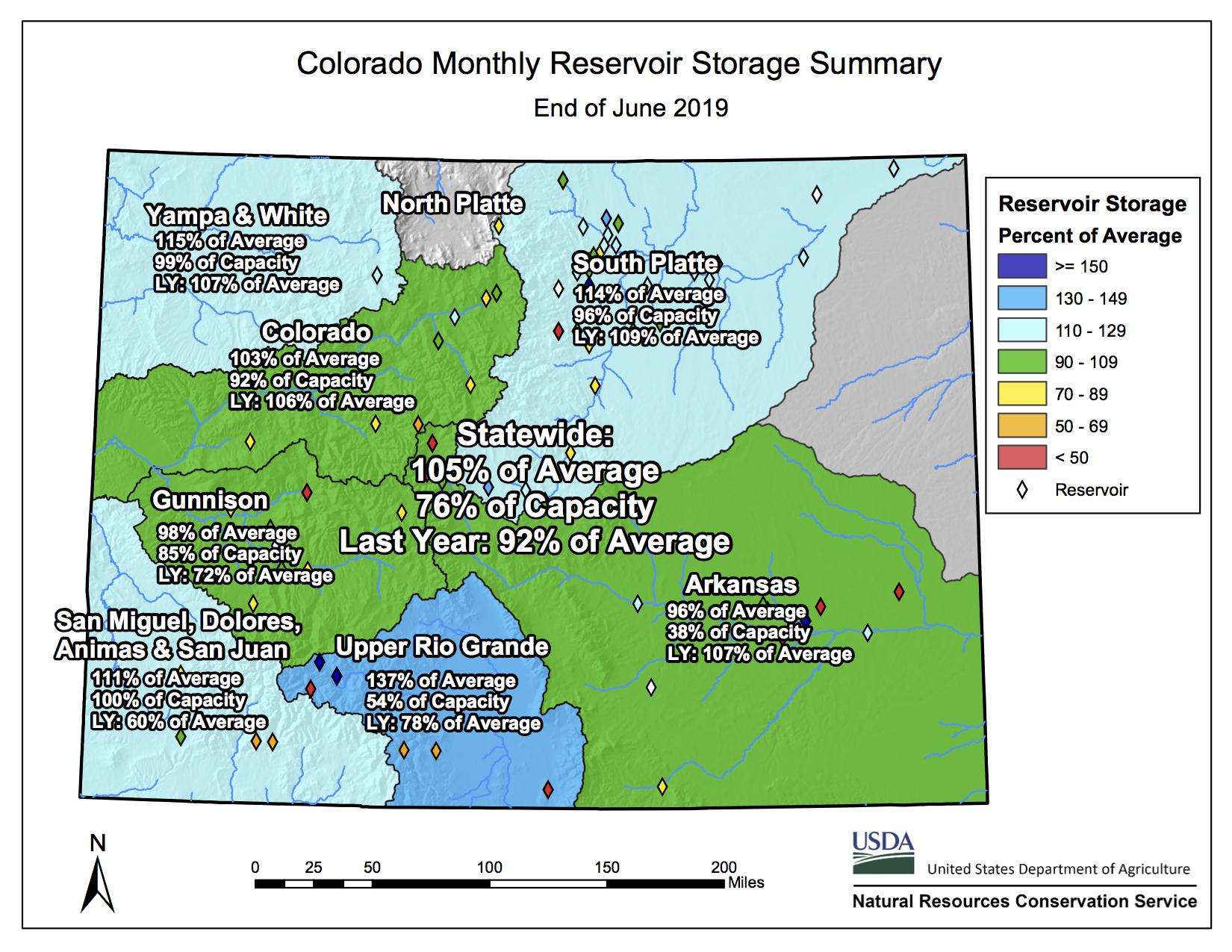 Reservoir Storage Map June 2019