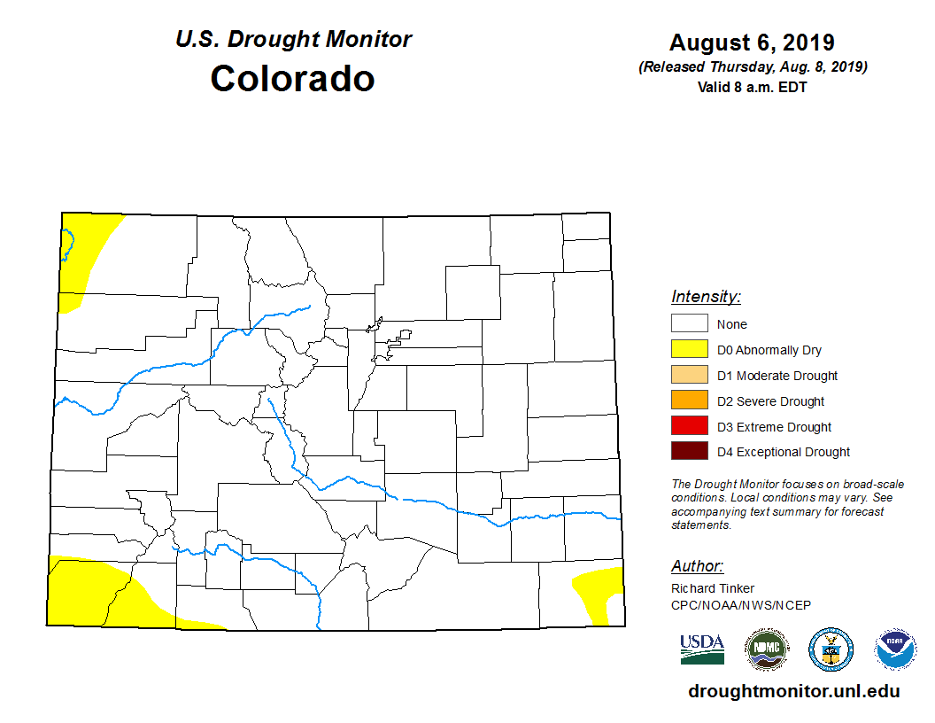 August 2019 CO drought monitor