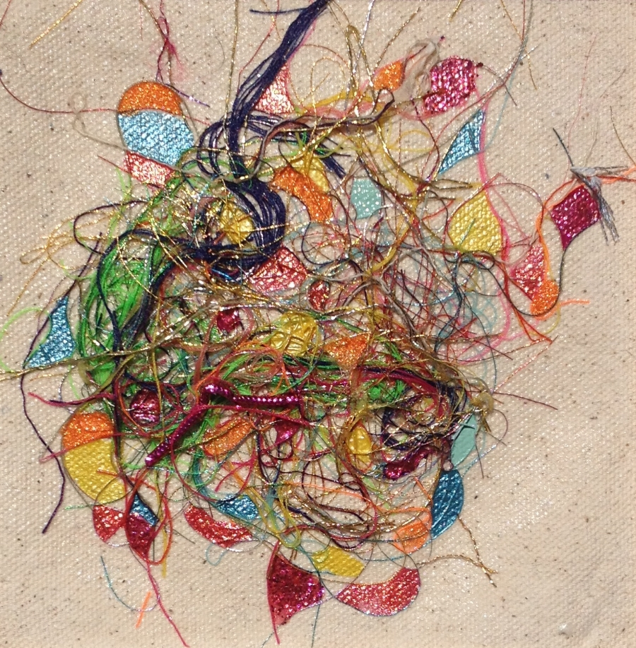 """Teased, Knotted and Lacquered #1   ""    Multi-thread Collage & Nail Polish     Matted (Size 11 3/8 X 11 3/8 Inches)    Image (Size 5 1/4 X 5 1/4 Inches)"