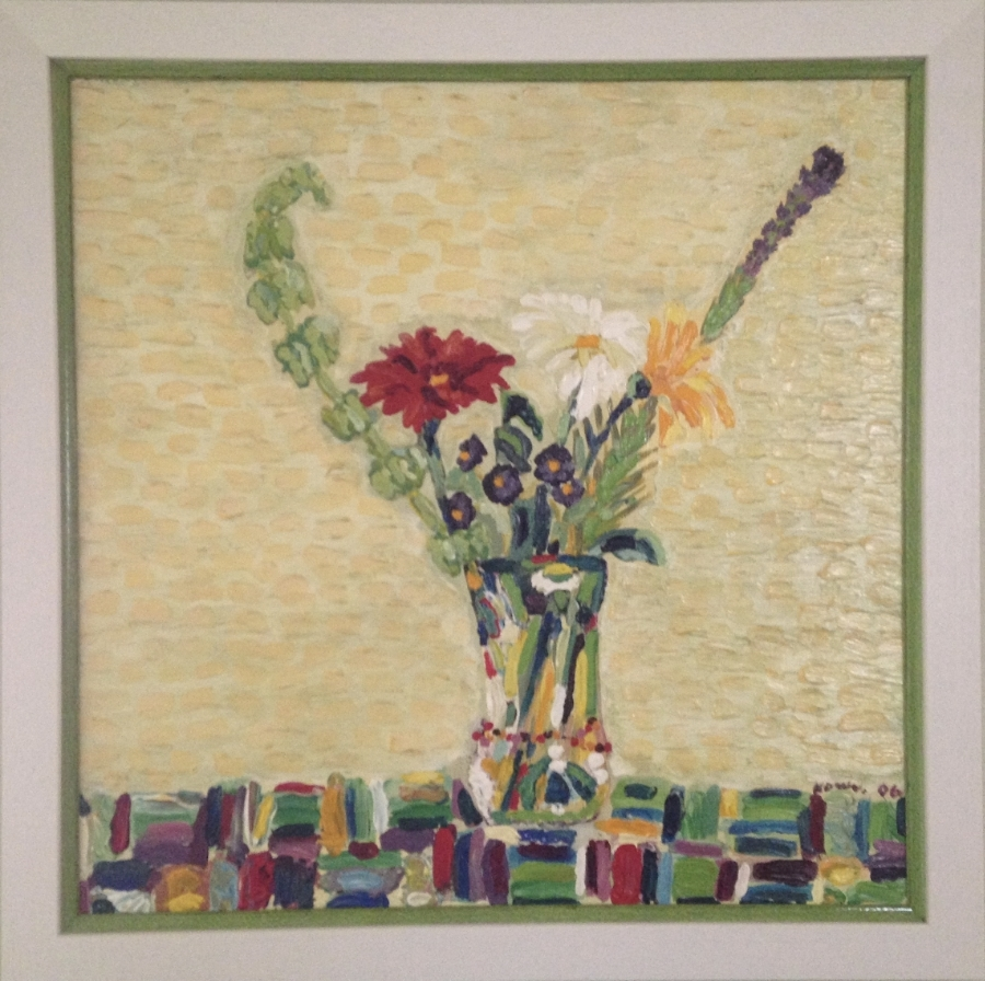 """Brush Mark Flowers in Vase on Brush Mark Table Cloth     Acrylic on Masonite    Size 24"""" X 24""""    Collection of Lucas & Cassidy Wilkie"""