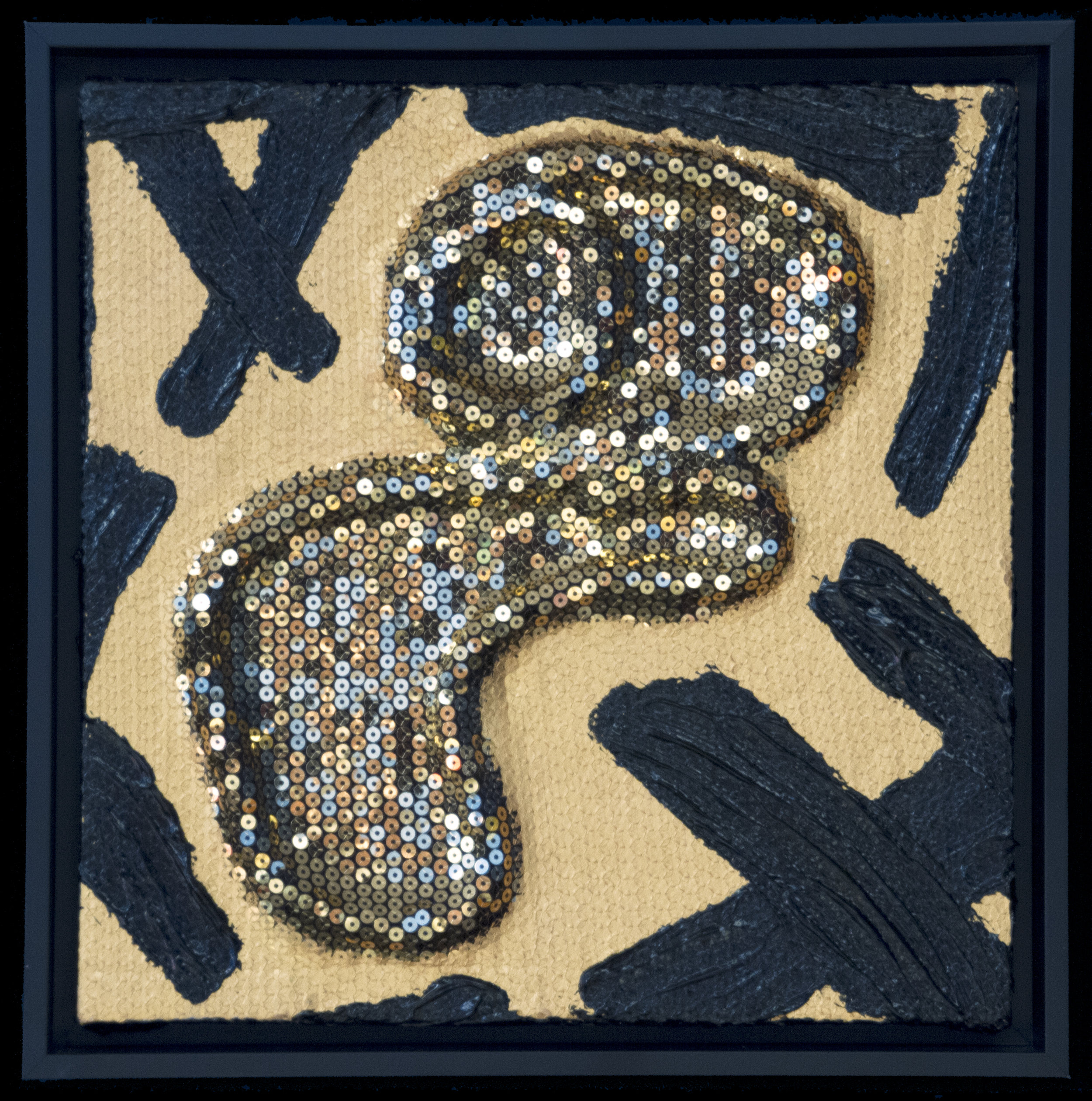 """Gold Sequence 'Wall Pillow' ""     Polyester Cording & Sequence Material and Acrylic Paint on Canvas    Image Size 12"" X 12"" X 1 1/2""    Black Floater Frame Size  Approx. 13"" X 13"" X 2"""