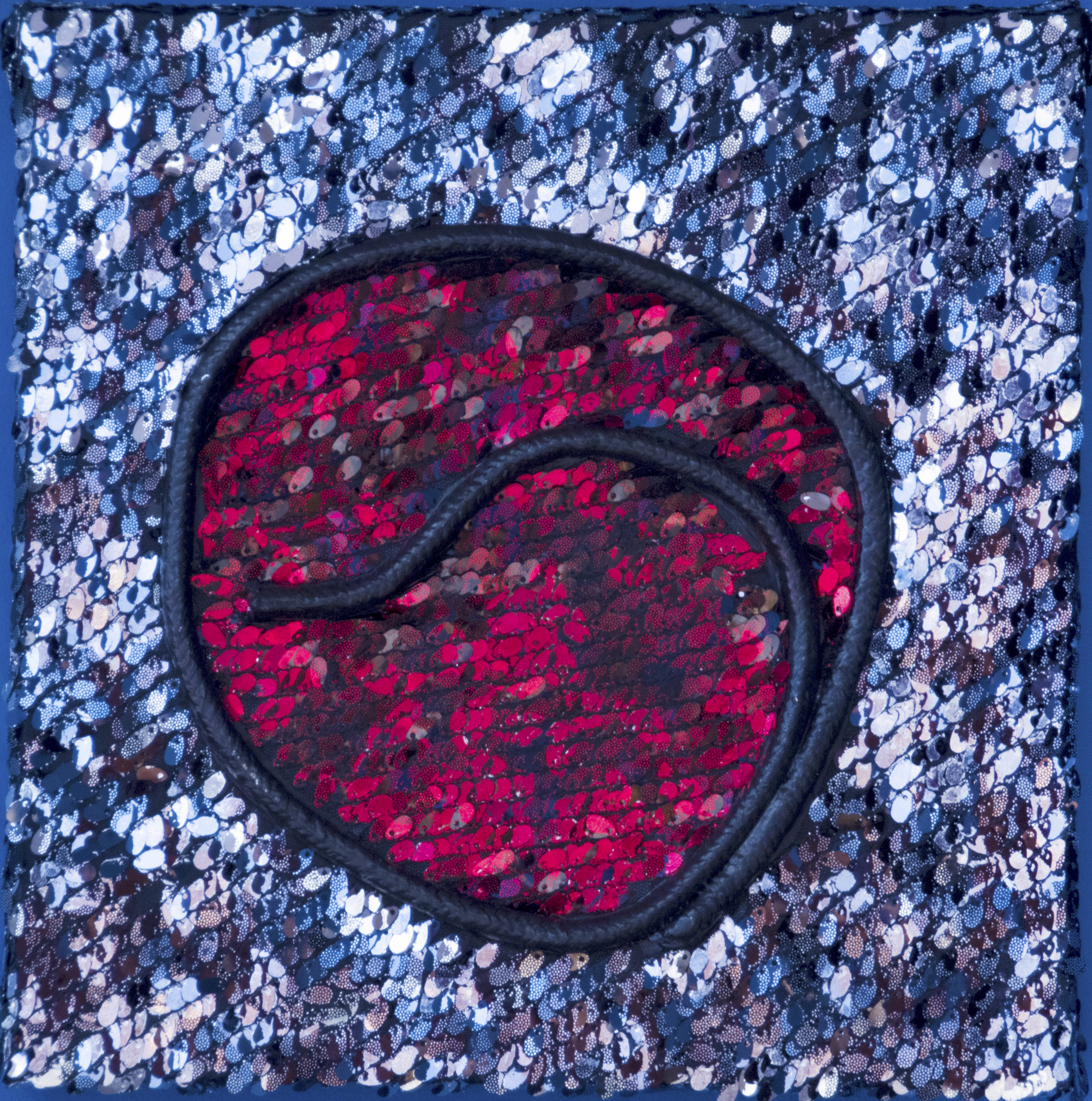 """Red Reflected Wall Pillow""     Polyester Cord or Rope and Sequence Material & Acrylic on Canvas    12  X 12 X 1-1/2 Inches"