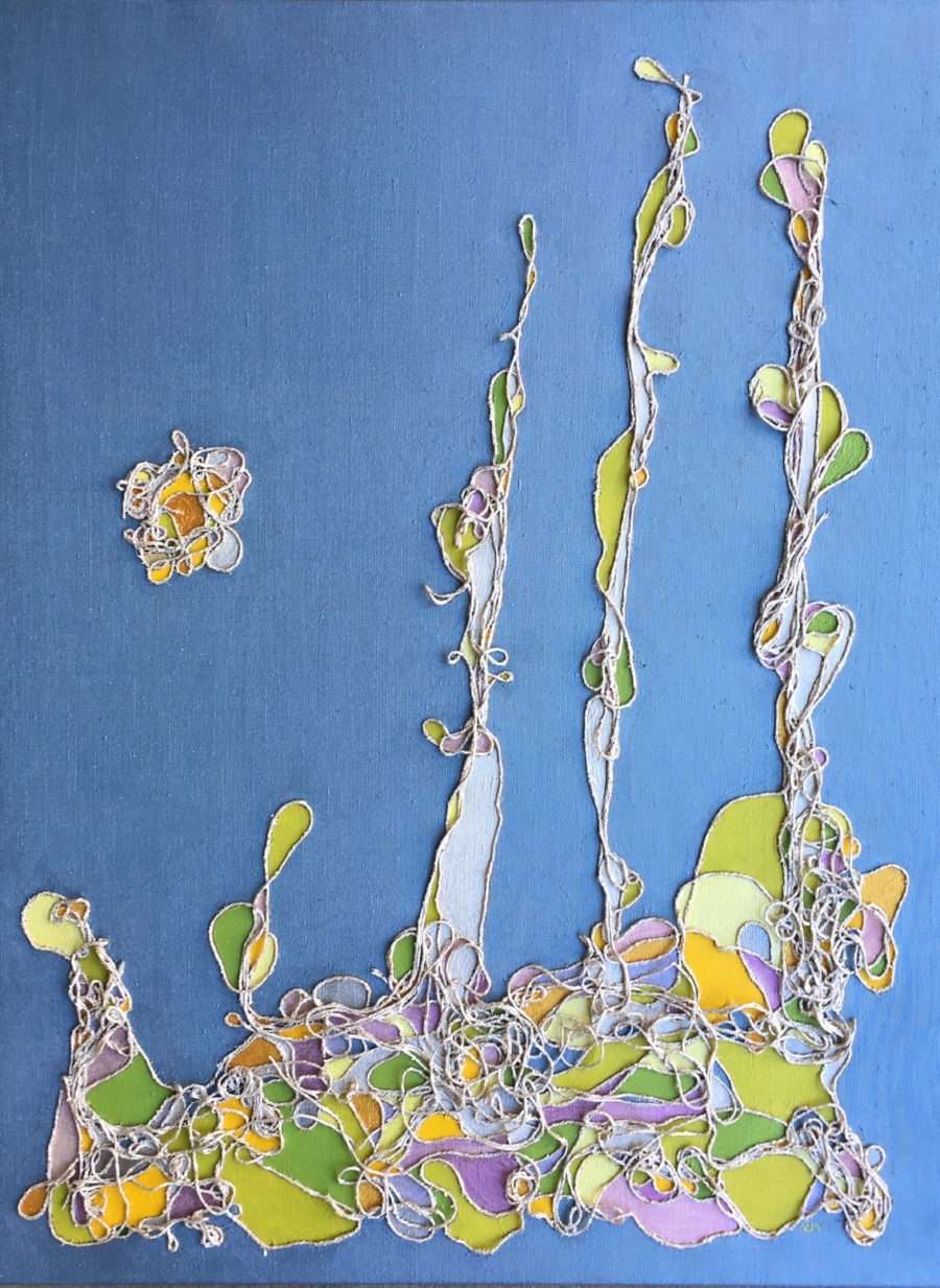 """Sunlit""     cotton String &Acrylic on Linen    Image Size 3' X 4'"