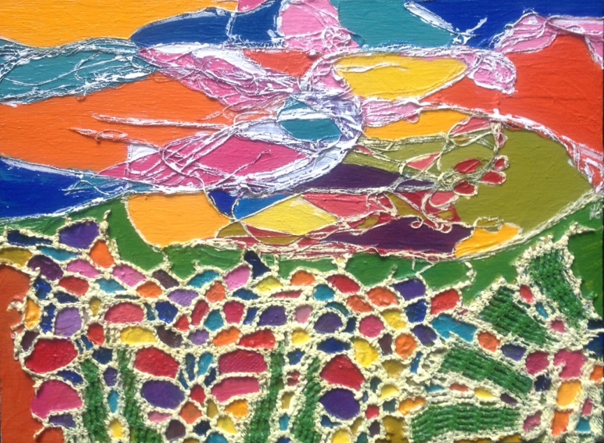 """""""Jube Jube Landscape""""    Cotton Thread & Crochet Cotton & Acrylic Paint on Board    Unframed 8 Inches x 6 Inches x 1 Inch Deep"""