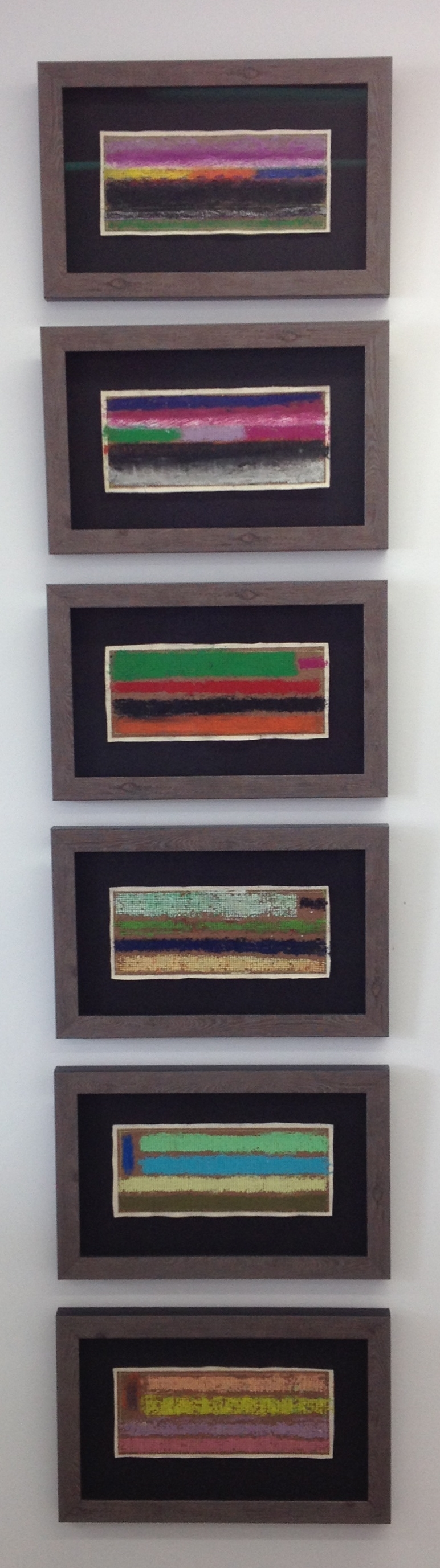""" 6 Sequential Sandpaper Expressions""    2016    Oil Pastel (Hand Stitched on the top Image only) on Sandpaper  & Stitched to Canvas    Each Image is    11 1/4"" X 5""      Framed Size  17 1/4"" X 11"""