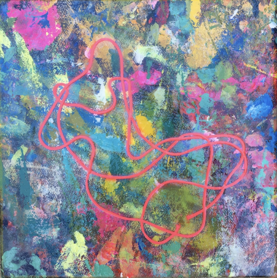 """ Painted "" 2  My painting shirt with pinl neon string and covered with a plastic table cloth.  12"" x 12"" Unframed.  Unframed"