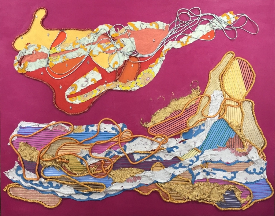 """""""Sheland""""    Polyeste Cording, Cotton Cording, Cotton String, Gold and Silver Cording, Lace Table Cloth Strips, Jute, Burlap and Acrylic Paint on Linen.    Canvas Size 5 Feet X 4 Feet"""