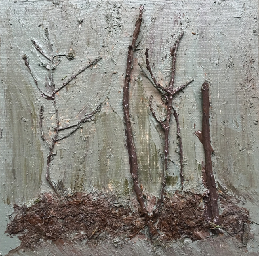 """"""" May 4, 2018"""" After the Rain Benmiller Line, Benmiller, Huron County."""" 1  Acrylic, Twigs, Cedar Needles, Soil, rotted Wood, on Canvased Masonite.  Image Size 11"""" x 11"""" Unframed."""