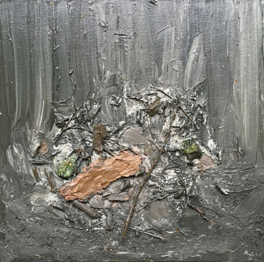""""""" May 4, 2018"""" After the Rain Benmiller Line, Benmiller, Huron County.""""(2)  Acrylic, Twigs, Bark, Cedar Needles, Soil on Canvased Masonite.  Image Size 11"""" x 11"""" Unframed."""