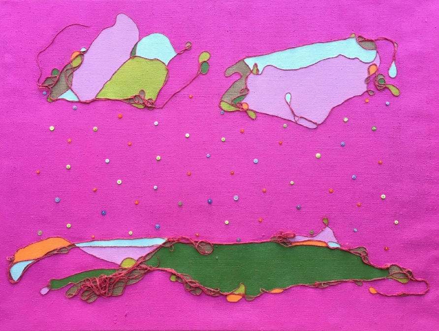 """Button Rain""   Plastic Buttons, Dyed Jute & Acrylic on Burlap  Image Size 4' X 3'"
