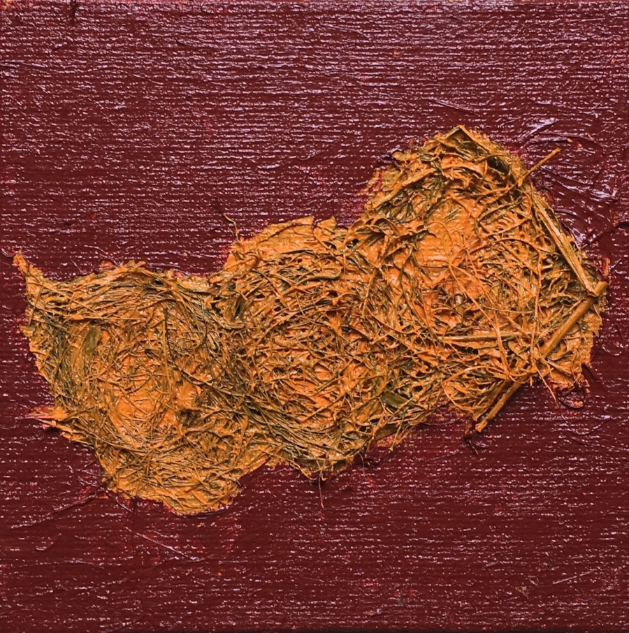 """""""July 9th, 2018. Unknown Dirt Road near Nile Road and Counsel Line, beside a Red Barn.""""  Polymer & Acrylic with a Bird's nest on a handmade, burlap covered board.  I spread out the bird's nest because it had 3 different layers which was defined by differing materials. (Possibly 3 different areas the bird chose to pick it's materials)  Size Approx. 11 X 11 Inches"""