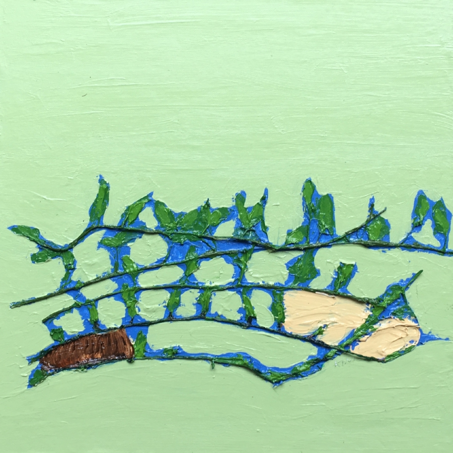 """""""July 10th, 2018. North of Lucknow Line on Golf Course Road, Huron County""""  Acrylic Polymer & Acrylic Paint with Wild Vine Leaves (shape arrow head) corn stock Leaf on Handmade Canvas Board.  15 x 15 1/4 Inches"""