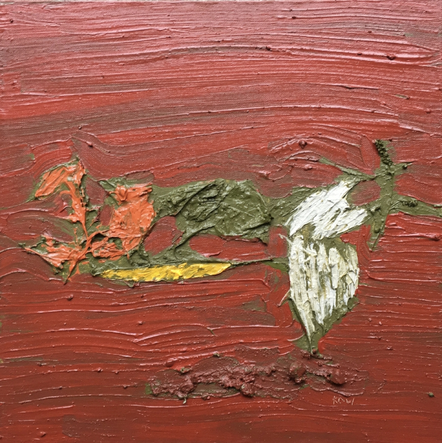 """""""October 7th, 2018. Under Benmiller Bridge on the South side, at the Maitland River, Benmiller, Ontario.""""  Acrylic Polymer and Acrylic Paint, with Stones, Leaves, a small rose coloured Flower from the edge of the Maitland River, on a handmade Canvas Board.  15"""" X 15"""""""