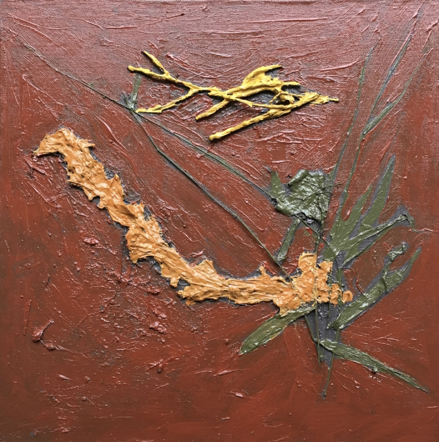 """""""October 10th, 2018. Londesborough Road and Morris Tract Line in the Morris Reserve. Huron County. Ontario.  Acrylic Polymer and Acrylic paint with Maple Leaves, Long Grass stems, Twigs, and soil on hand made Canvas Board.  15"""" X 15"""""""