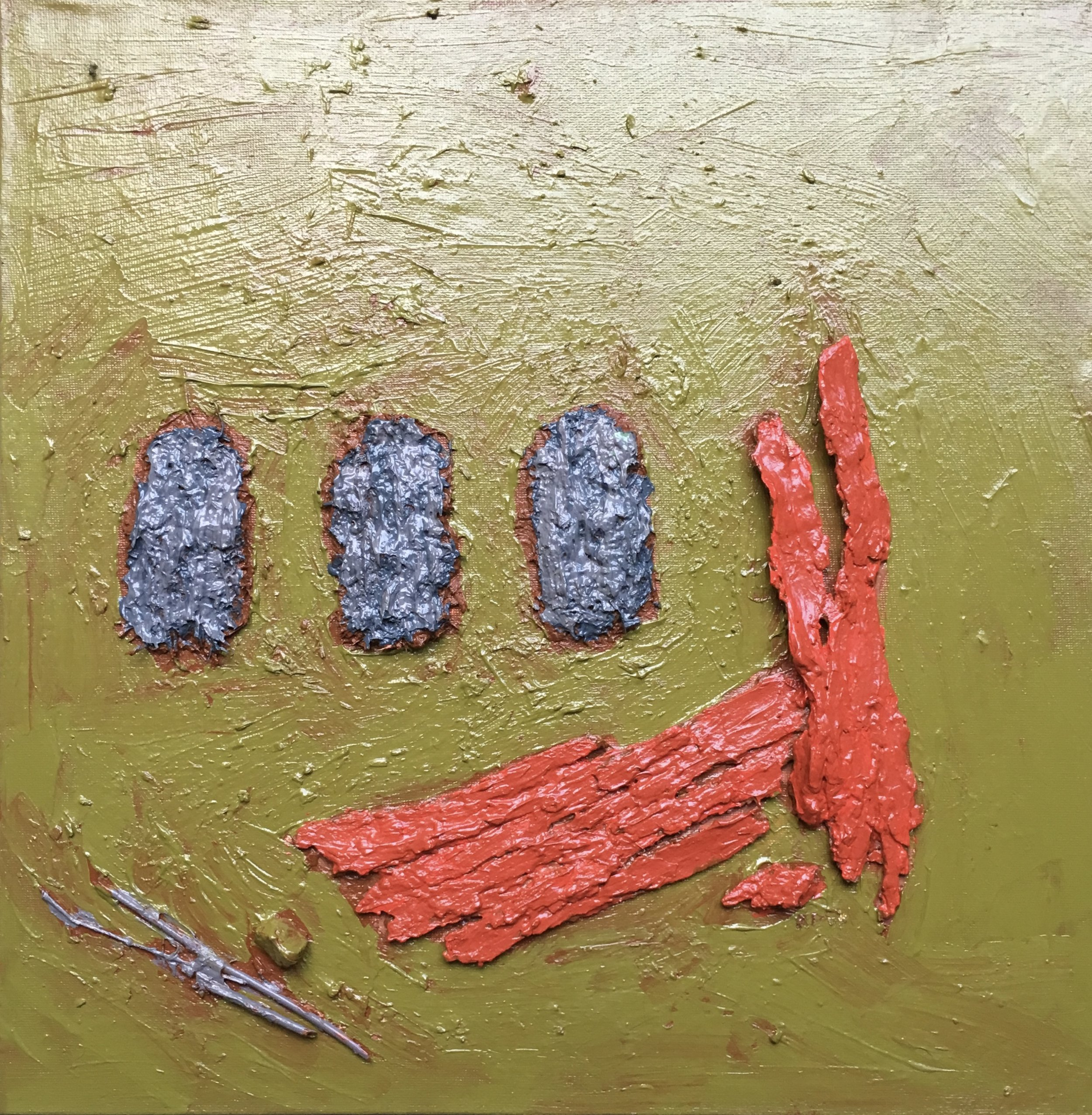 """Title """"July 9th, 2019. Golf Course,Road, South side of Lucknow Line at or near 37227, Golf Course Road. Huron County.""""  Acrylic polymer & Acrylic paint on Bark, Stones , earth, sawdust, and twigs on hand-made canvas Board.  Size Unframed.  15"""" W X 15 1/4"""" H"""