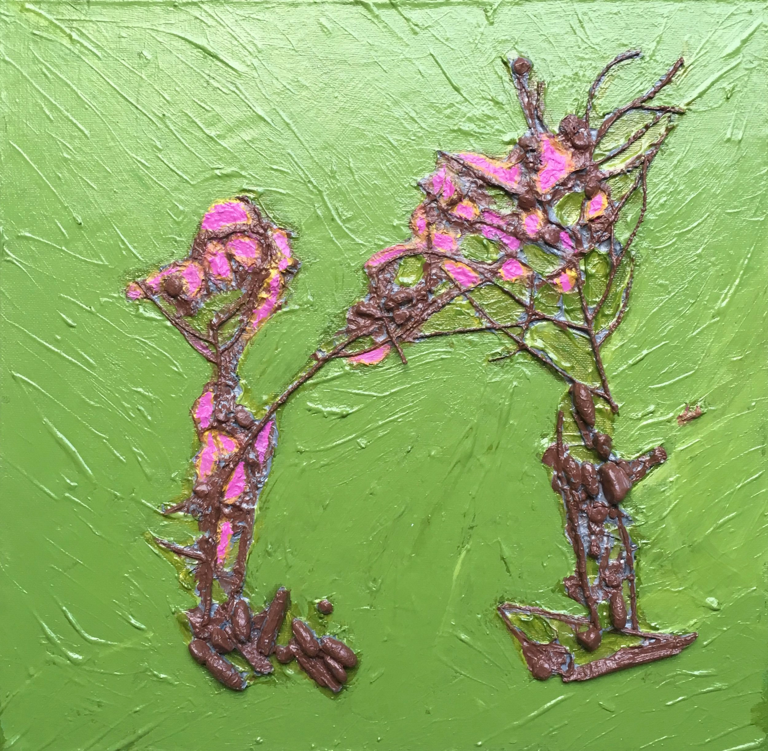 """Title """"June 10th-June 11th, 2019. 80602 Benmiller Line, Benmiller, ON. Right path beside house looking towards the Maitland River.""""  Acrylic polymer, acrylic paint, on twigs, soil, stones, small cones (pine) Dandelion heads and seeds (fluffy)  Unframed Size 15 1/4"""" W X 15""""H"""