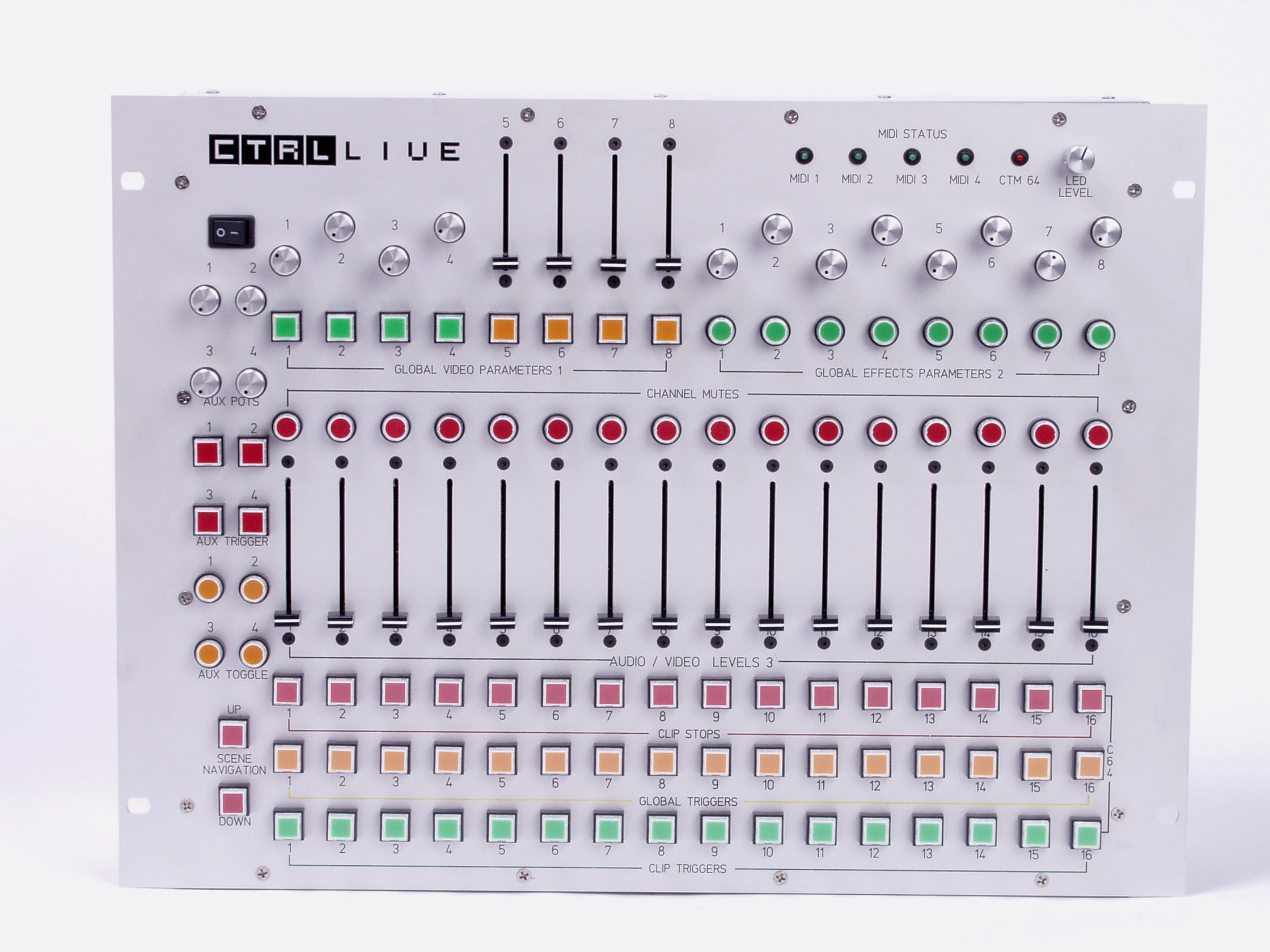 Platikman's custom CTRL surface.  Hardware developed by Mick Hawtin to simultaneously perform audio/video/lighting parameters
