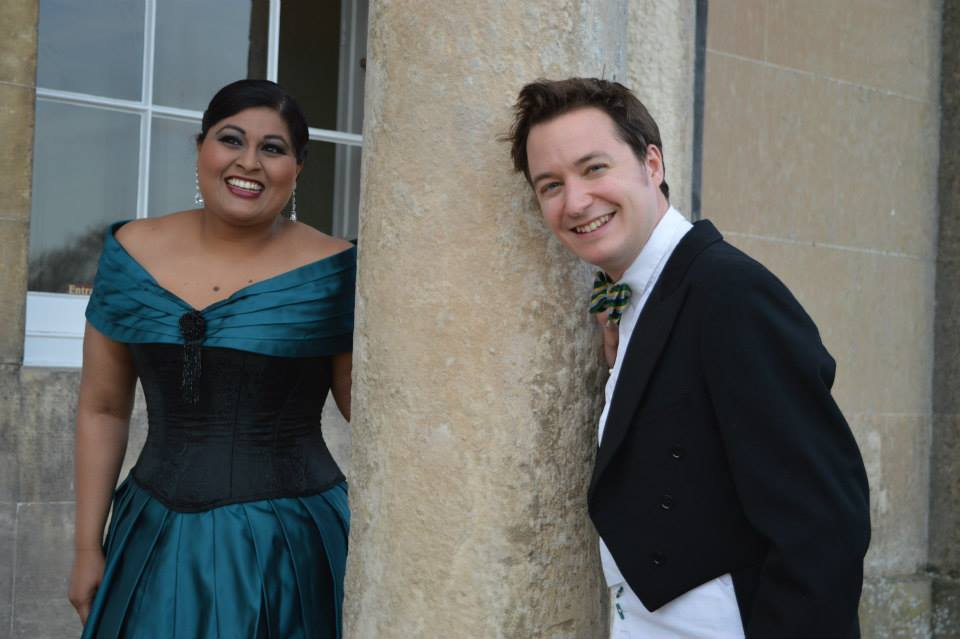 Meeta Raval and Oliver Gerrish of New Georgian Opera before their concert at Sledmere House, Yorkshire, April 2015