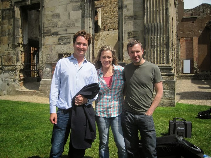 Oliver Gerrish, Sarah Beeny and Graham Swift at Sutton Scarsdale for the filming of Rise Hall Restoration Nightmare programme