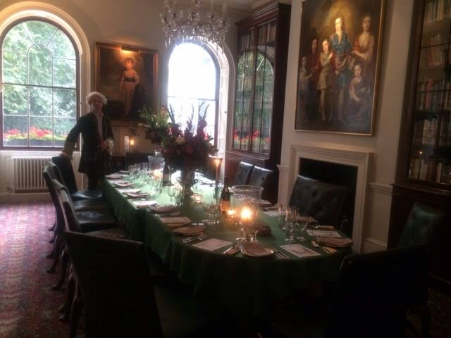 A Georgian footman awaits for the guests to arrive. Private dinner party at The Georgian Group, hosted by Oliver Gerrish as part of the tour.