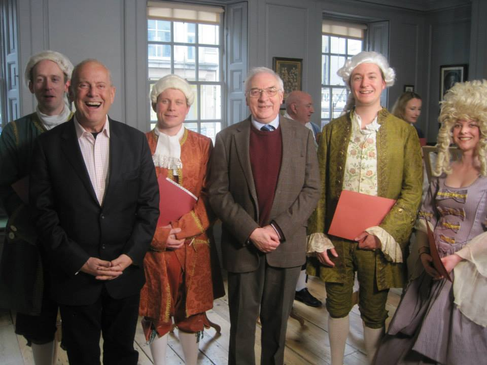 Oliver Gerrish and some singers with Gyles Brandreth in Handel House for the BBC's The One Show.
