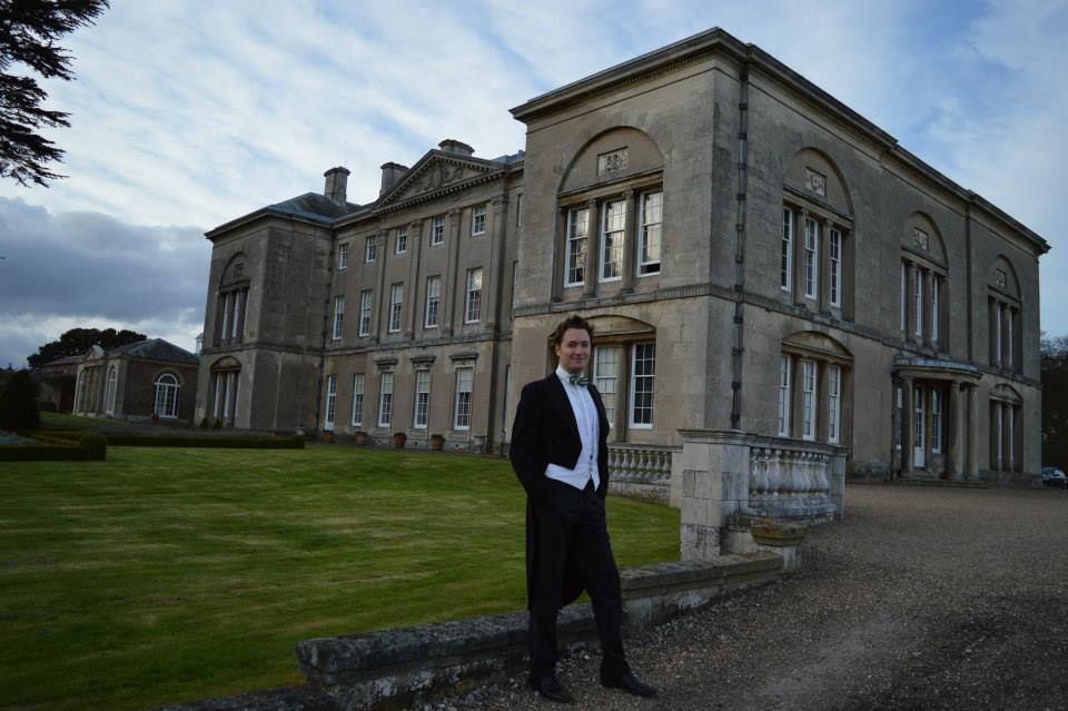 Oliver Gerrish in front of Sledmere House, Yorkshire, April 2015