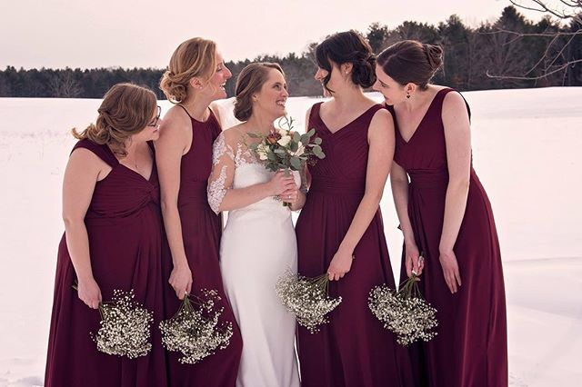 When it's -4 degrees out but we need the shots! Great job surviving the cold girls 😊! . . . #weddingdress #winterwedding #bridesmaids #bride #wedding #weddingfun #weddingphotography #weddingphotoshoot #amazing #love