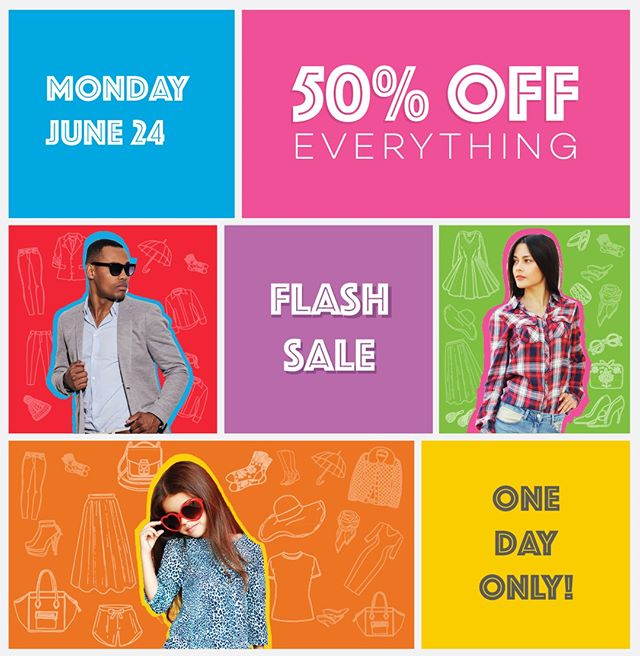 Flash ⚡ Sale ⚡ Alert.... 50% OFF Everything! One day only, Monday,  June 24 - doors open at 7AM #talize #talizetreasures