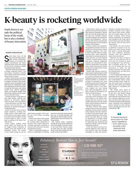 "Raconteur, The Times London, May 2, 2017. ""K-Beauty is Rocketing Worldwide""."
