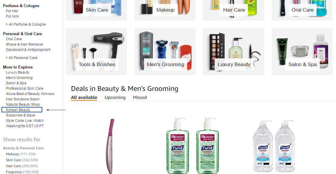 Amazon has created a Korean Beauty sub-category capturing on this term from an SEO perspective