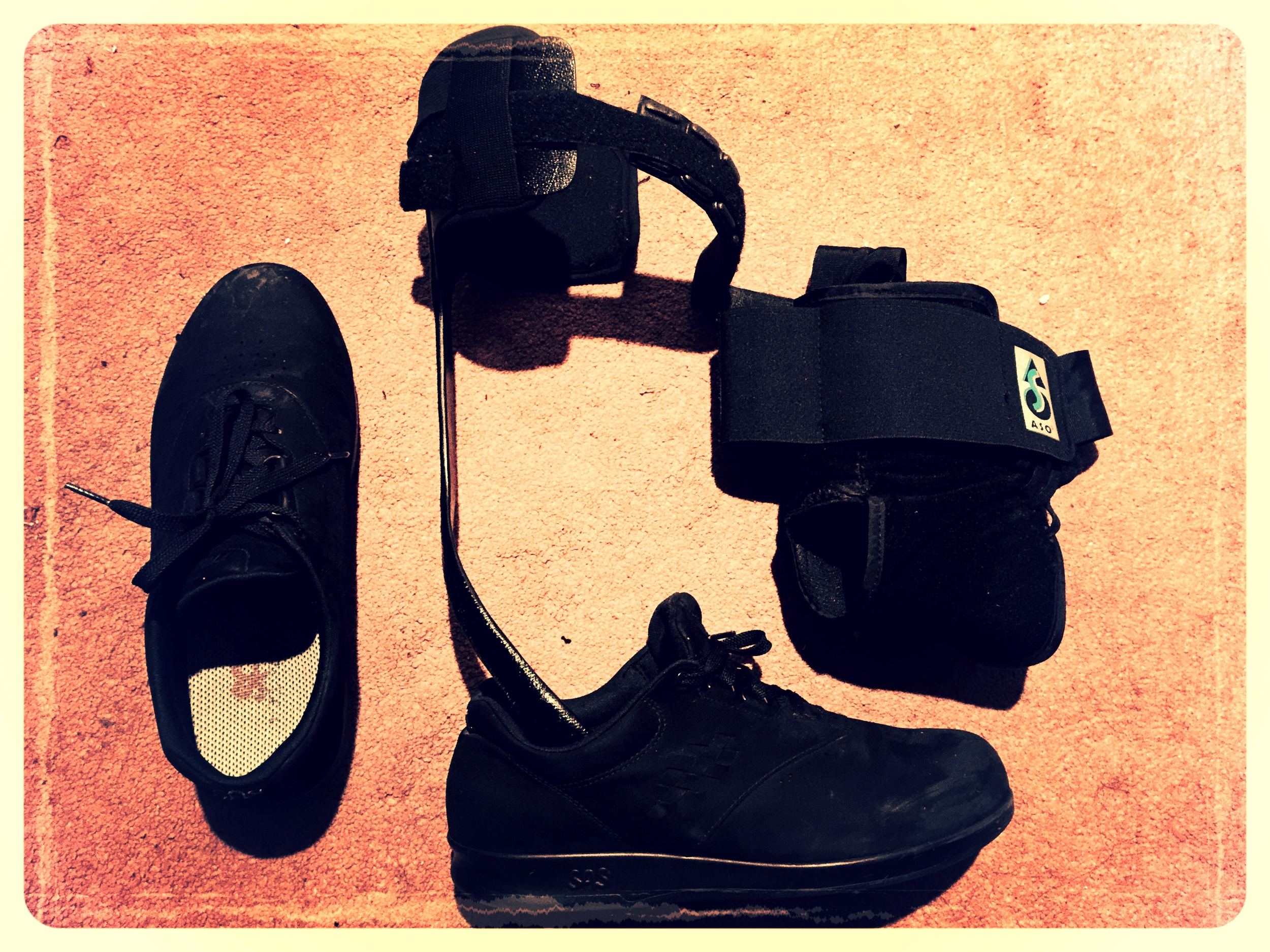 Adaptive Equipment: Leg brace and specially fitted orthotic shoes (SAS)
