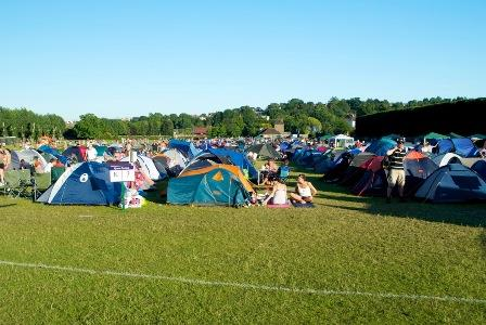 Here there are about 6 rows of tents lined up back to back. Picture this in the dark and trying to find your way back from the restroom!